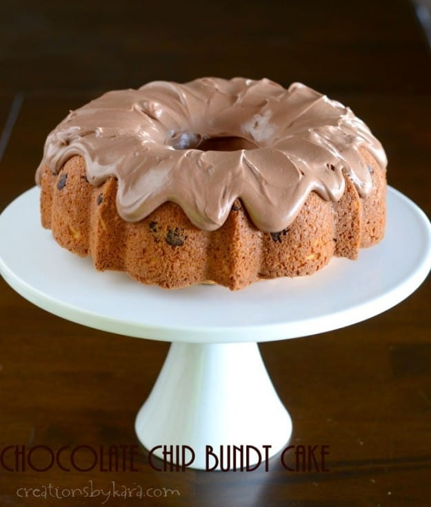 Chocolate Chip Bundt Cake with Chocolate Frosting