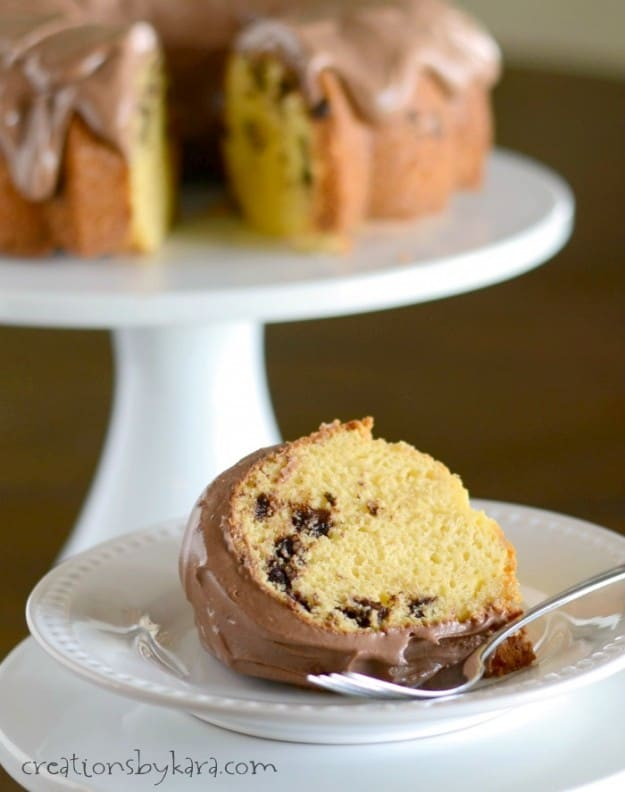 Recipe for Chocolate Chip Bundt Cake with Chocolate Frosting. Easy to make, but oh so good!
