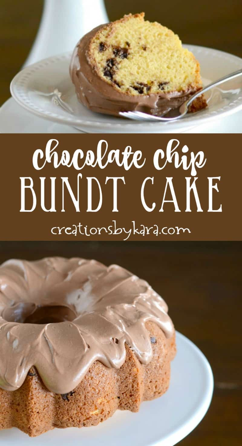Recipe for easy Chocolate Chip Bundt Cake with chocolate frosting. A moist and delicious cake recipe! #bundtcake #chocolatchips #chocolatechipcake #cake