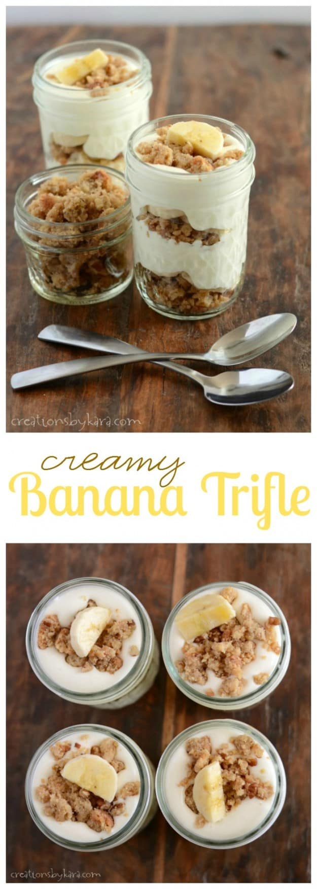 Creamy Banana Trifle served in little mason jars.
