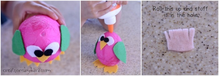 Cute bird made from a styrofoam egg- great kids craft idea!