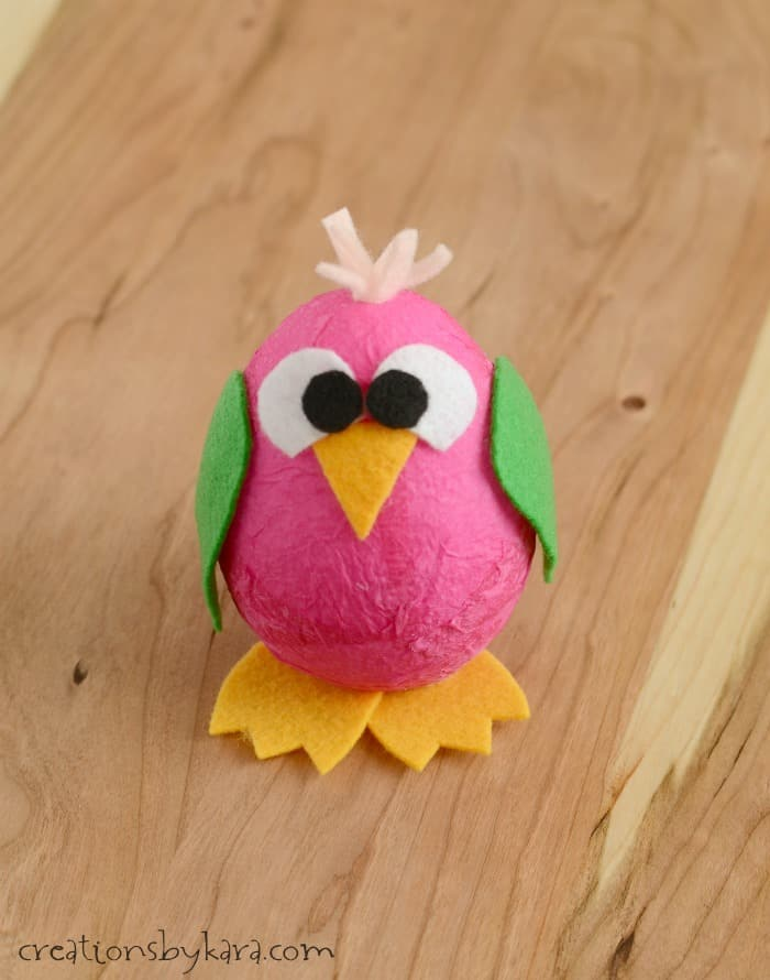 Kids craft idea- styrofoam and felt bird.