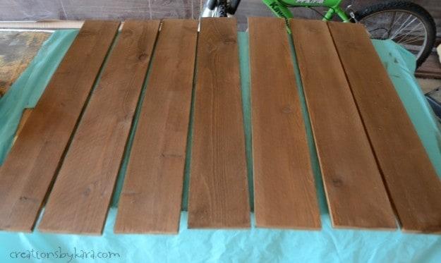 cedar fence slats stained walnut