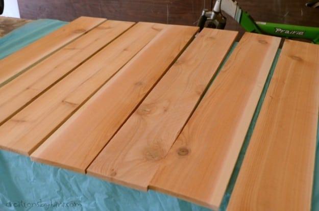 cedar boards on a garage table