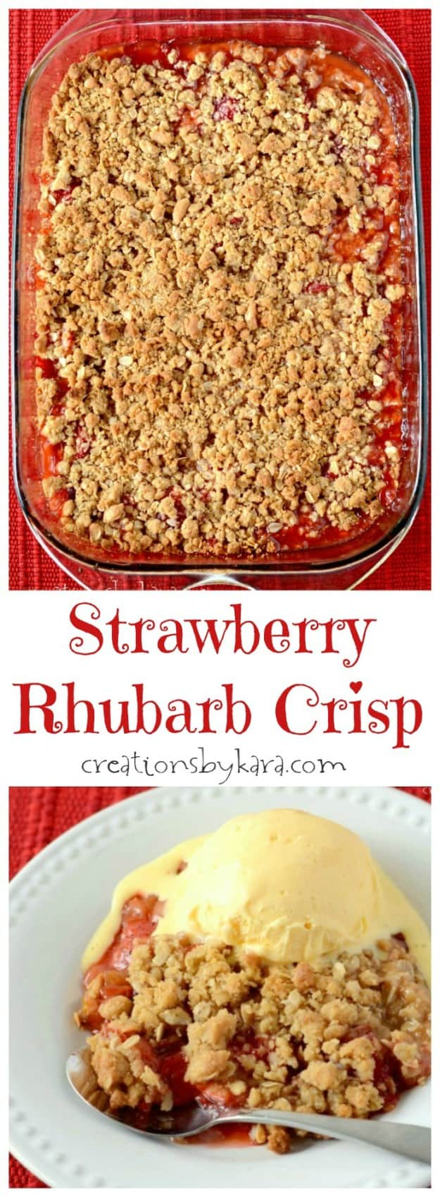 This Strawberry Rhubarb Crisp is a great way to use up that rhubarb from your garden!