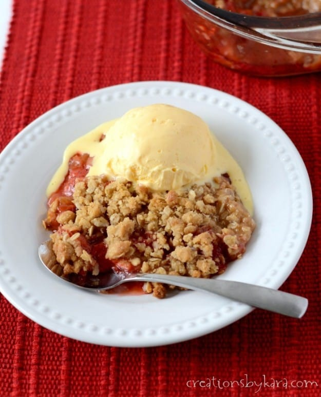 Rhubarb Strawberry Crisp- amazing with a scoop of vanilla ice cream!