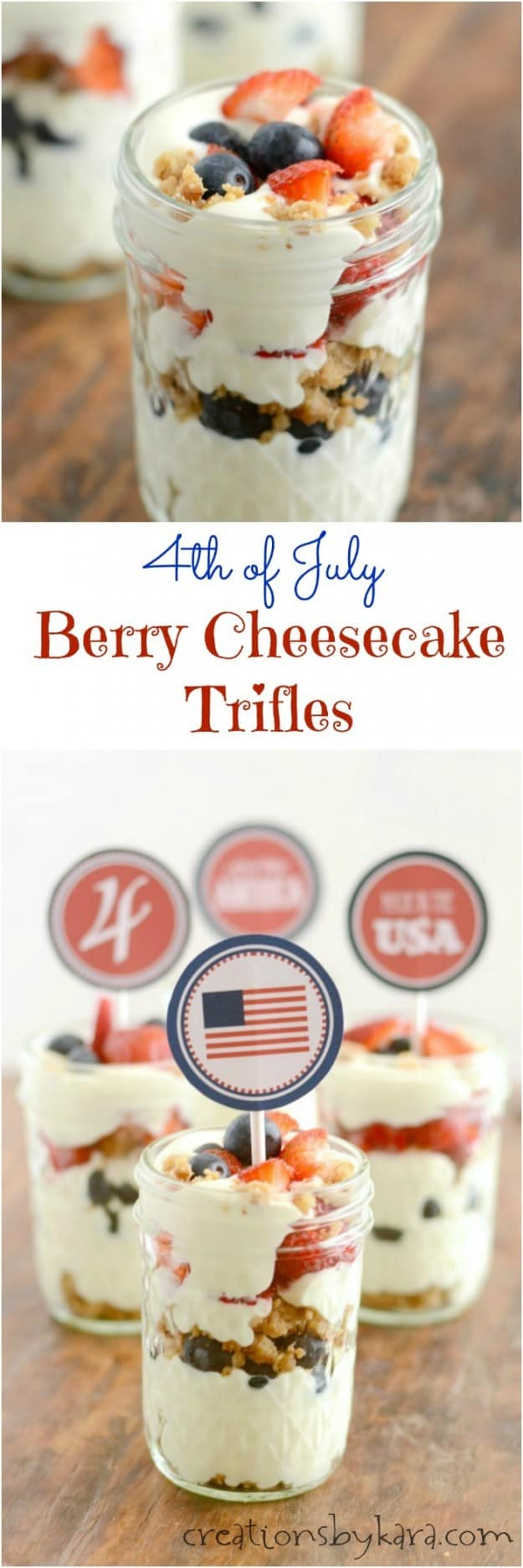 4th of July Berry Cheesecake Trifles