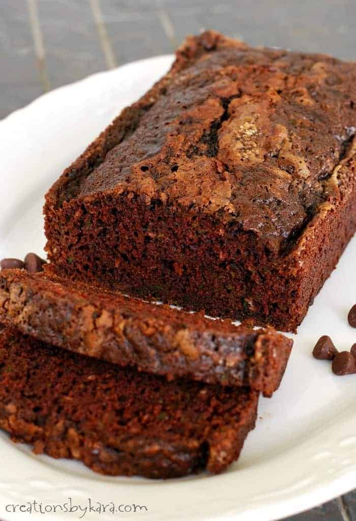 Chocolate Zucchini Bread with chocolate chips- a decadent way to eat up that extra zucchini!