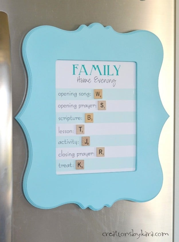 Family Home Evening Board with Scrabble Tiles