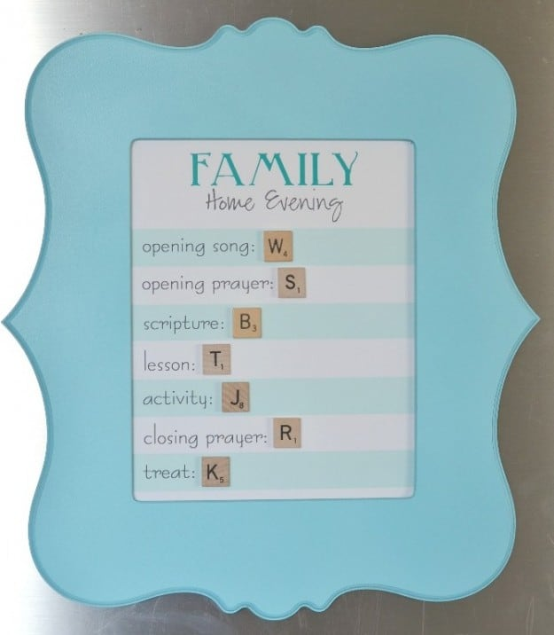 Family Home Evening Board- includes free printable!
