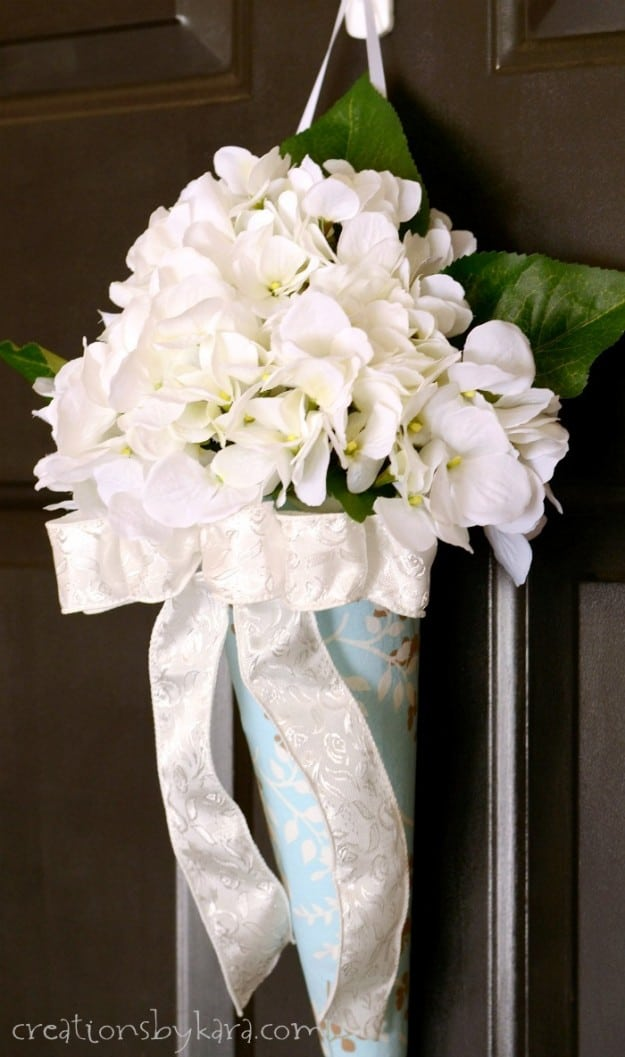 Easy flower arrangement with foam cone and silk flowers. Takes less than 30 minutes!