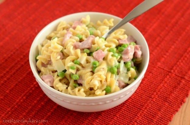 Creamy Ham Pasta with Peas- quick, easy, and delicious!