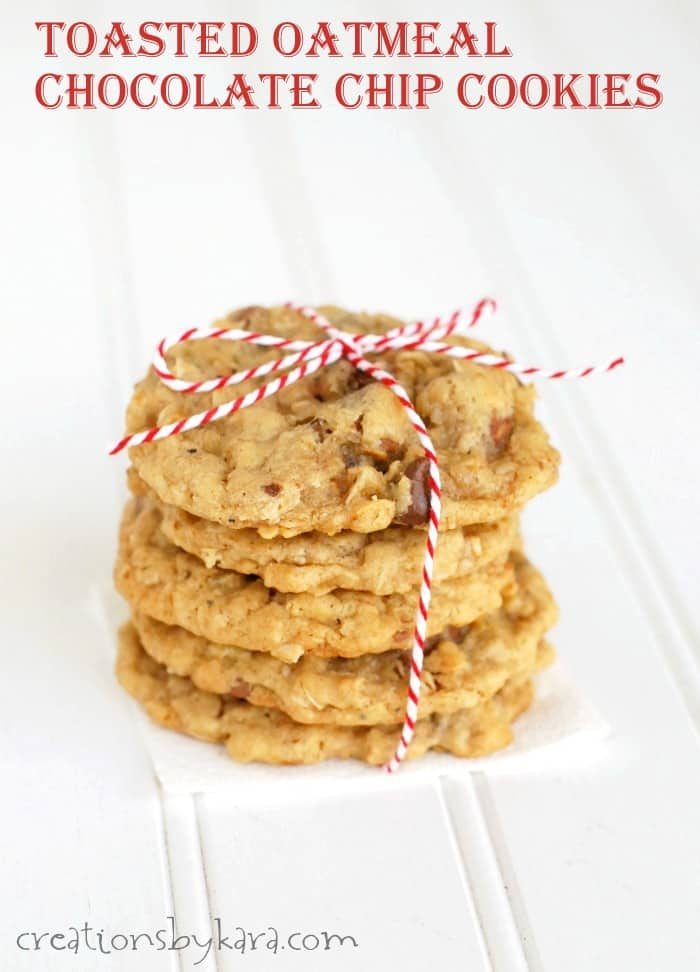 Toasted oatmeal chocolate chip cookies