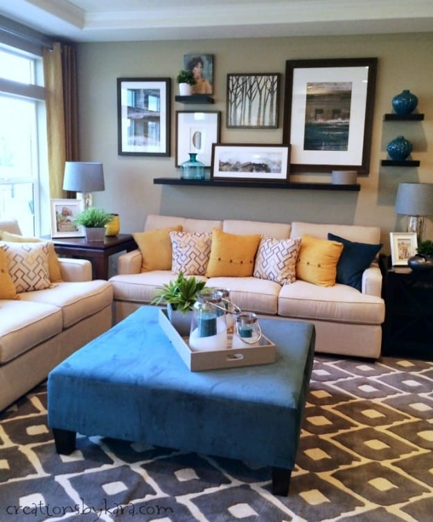 Blue, grey, and yellow family room
