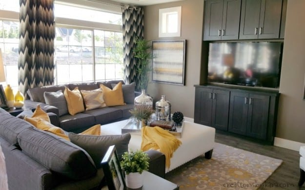 Grey and Yellow Family Room