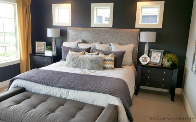 grey and yellow master bedroom oakwood homes model home tour 18838