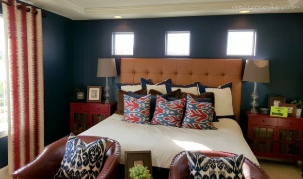 Navy and Red Bedroom