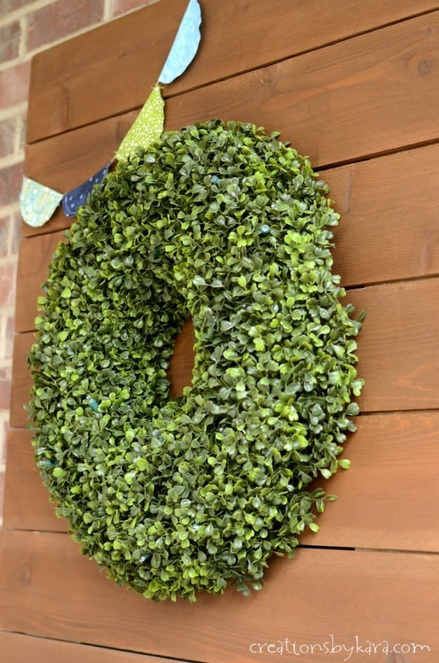 Balsam Hill Boxwood Wreath on rustic wood sign- perfect outdoor decor!