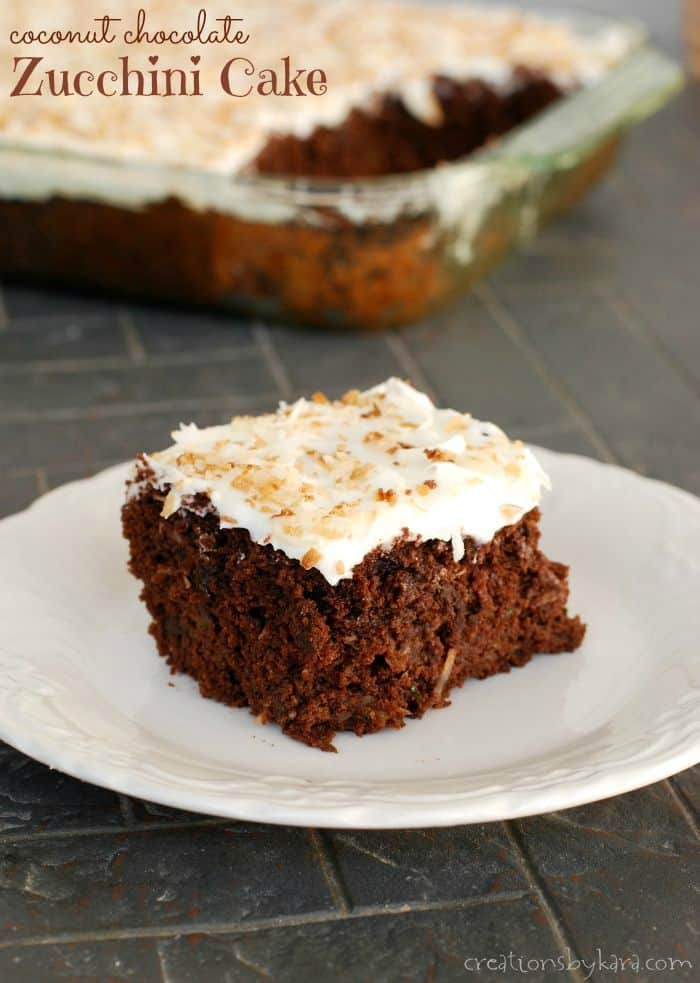 Moist coconut chocolate zucchini cake topped with sour cream coconut frosting. #chocolatezucchinicake