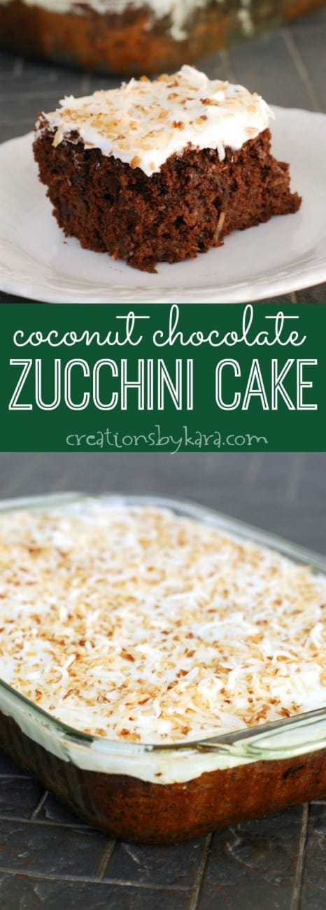 coconut chocolate zucchini cake recipe collage