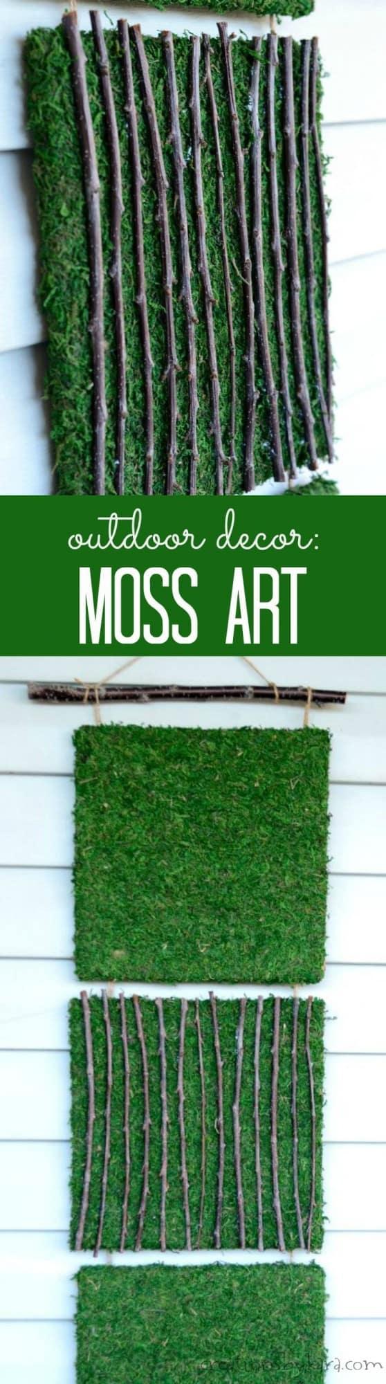 Outdoor decor diy - Outdoor Decor Moss Art Tutoriial