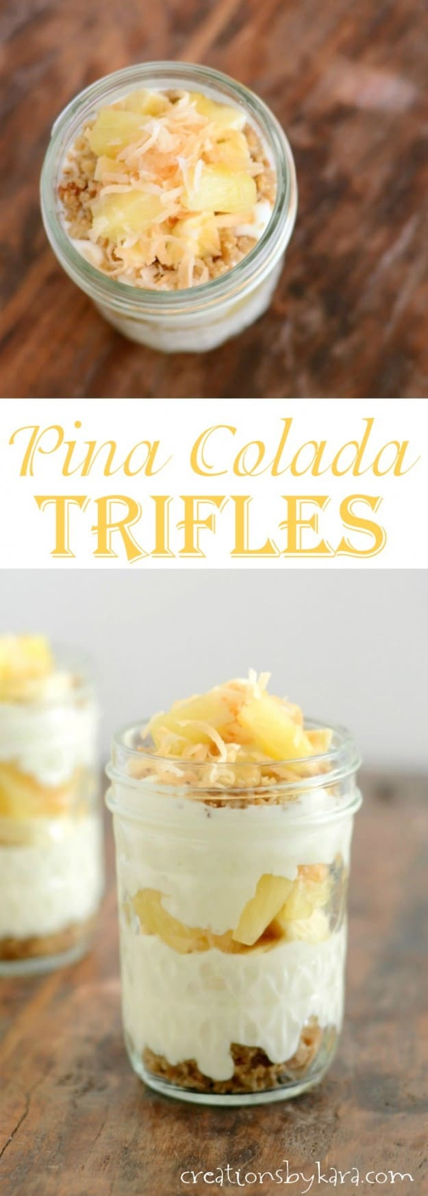 mini pina colada trifle recipe collage