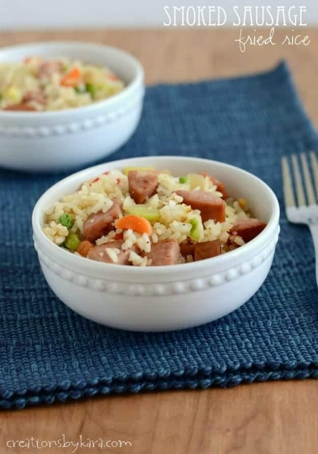 Smoked Sausage Fried Rice- a delicious skillet meal the whole family will love!