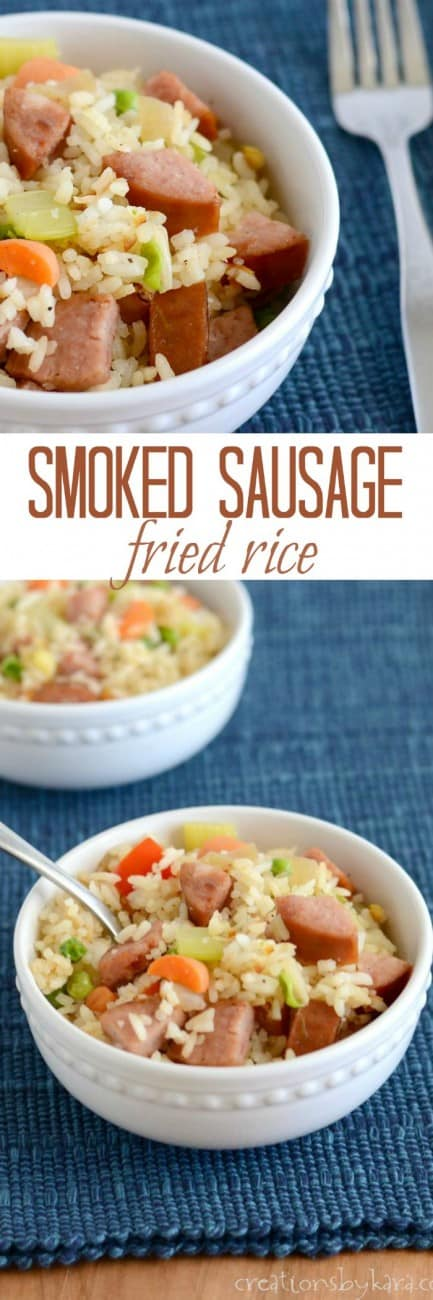 Recipe for Smoked Sausage Fried Rice- a great skillet meal!