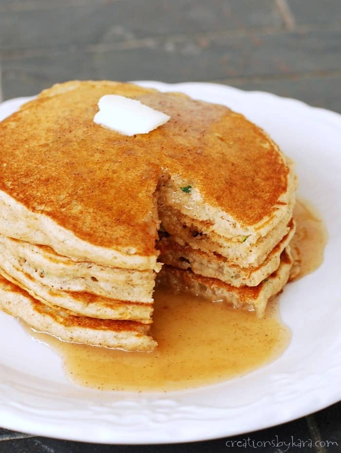 Zucchini Pancakes made with whole wheat flour- a healthy and delicious breakfast recipe!