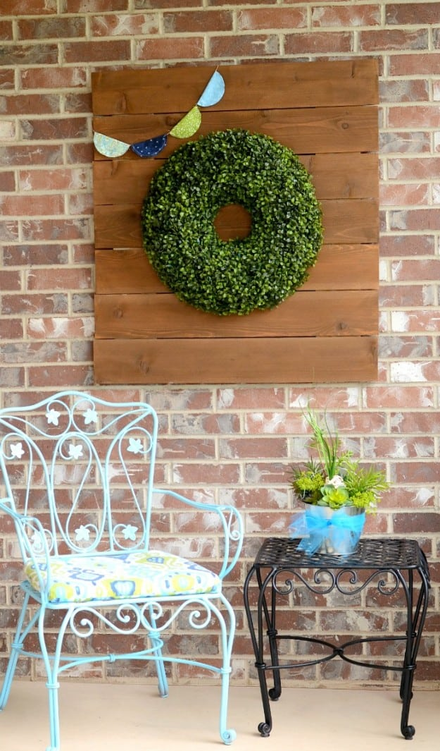 Balsam Hill Boxwood Wreath on rustic wood sign