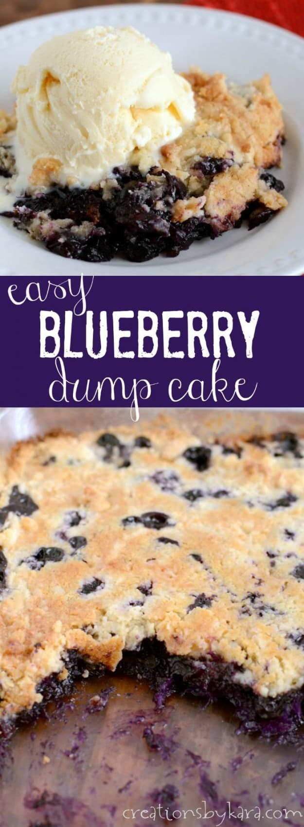 Easiest Blueberry dump cake recipe collage