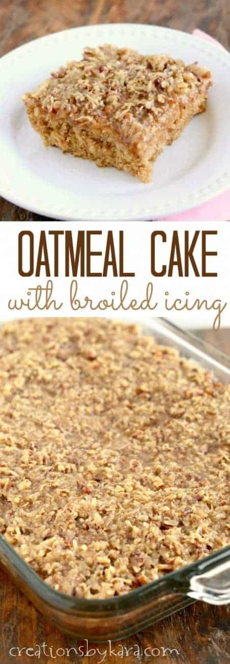 Oatmeal Cake with broiled coconut icing