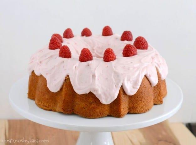 Raspberry Swirl Bundt Cake with raspberry cream cheese frosting