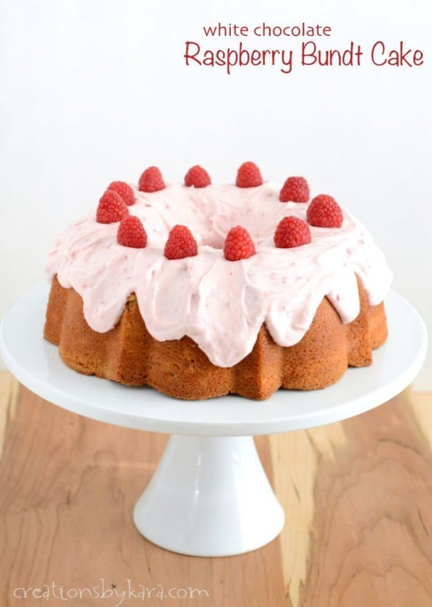 Raspberry Bundt Cake with raspberry cream cheese frosting