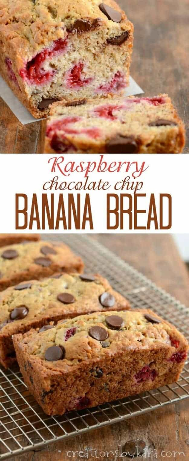 Chocolate chip raspberry banana bread recipe