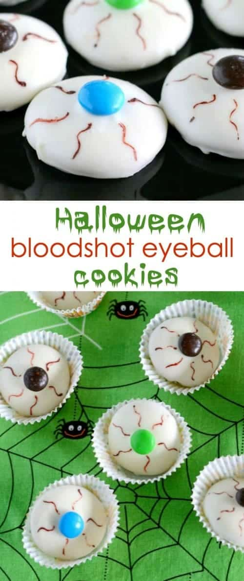 Bloodshot Eyeball Halloween Cookies- only 4 ingredients!