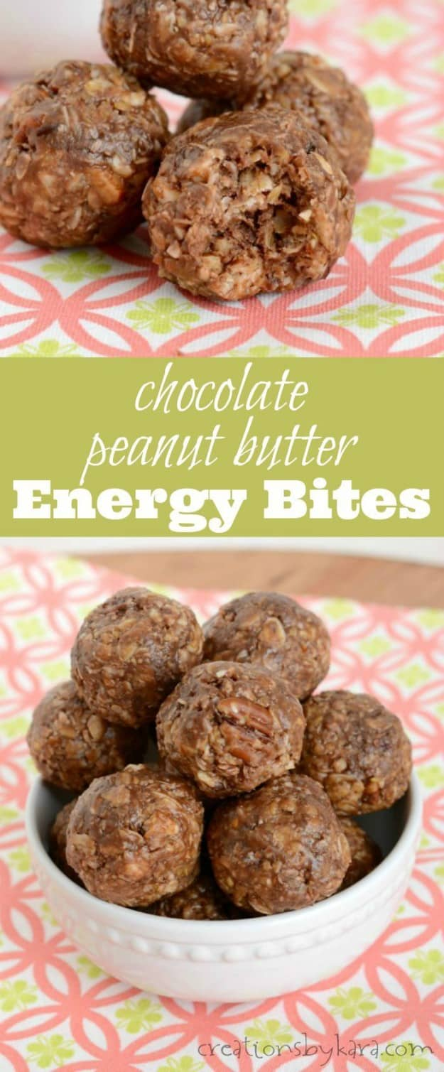 Energy Bites with chocolate and peanut butter