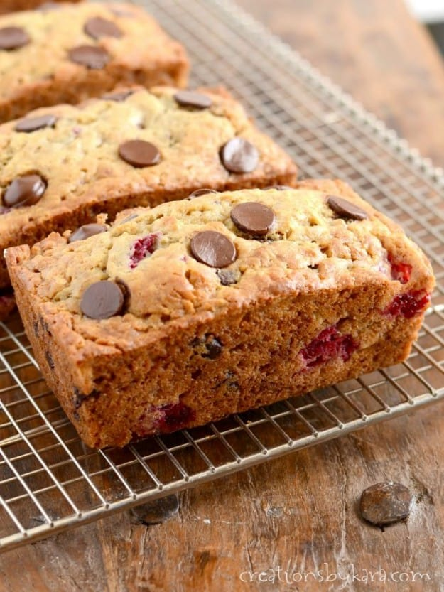 loaves of Raspberry Banana Bread with Chocolate Chips