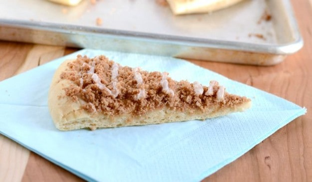 How to make dessert pizza with cinnamon topping and glaze.