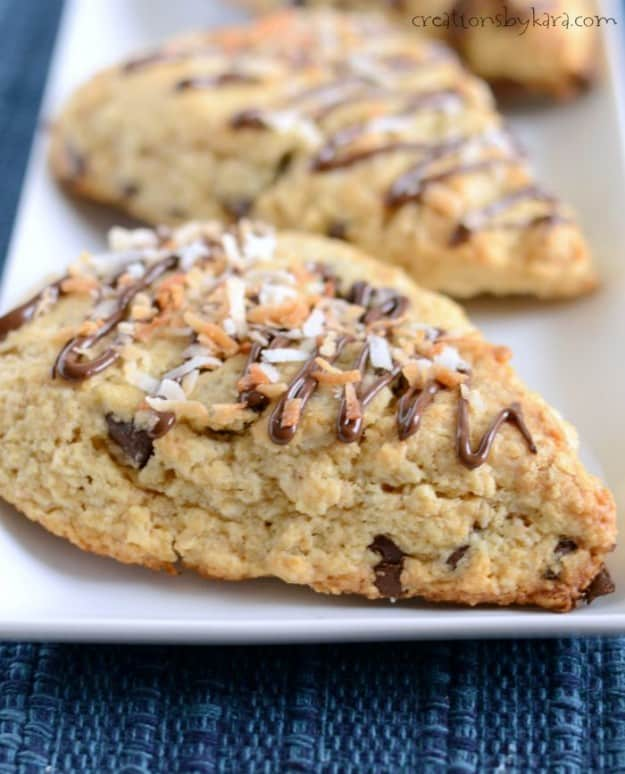 Coconut Chocolate Chip Scones. Perfect for breakfast, brunch, snacks, or even dessert.