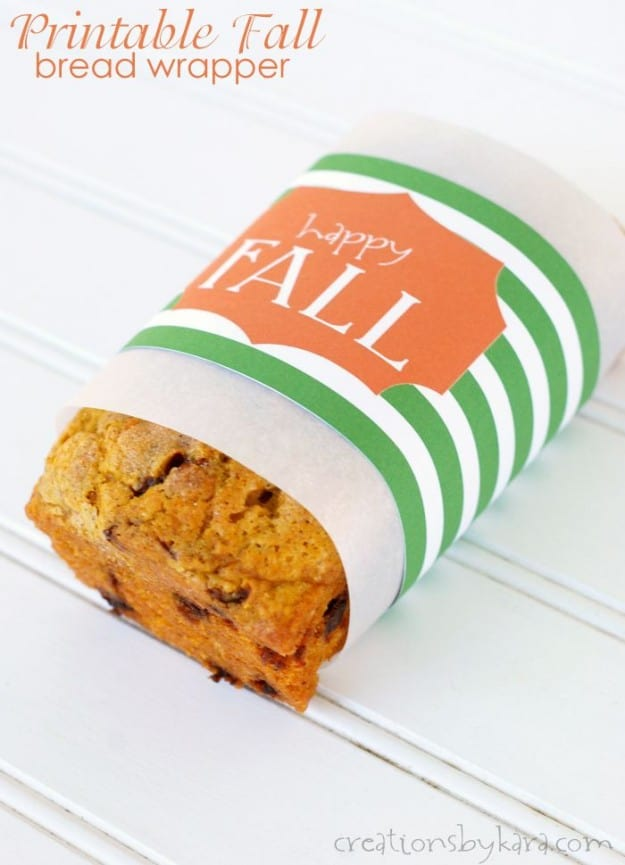 Free Printable Bread Wrapper for fall