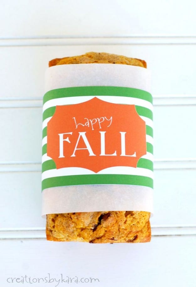 Free printable fall bread wrapper- perfect for gift giving!