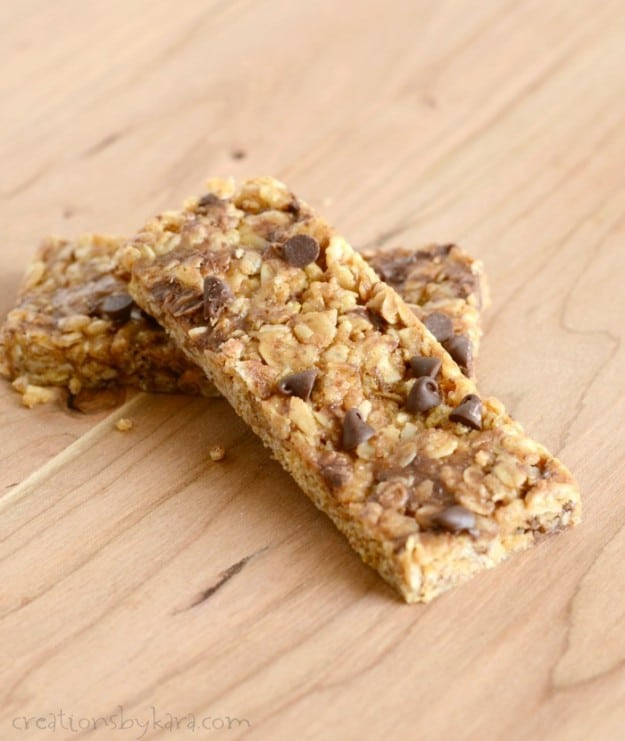 Homemade Granola Bars with peanut butter and chocolate chips. My whole family raves about these!