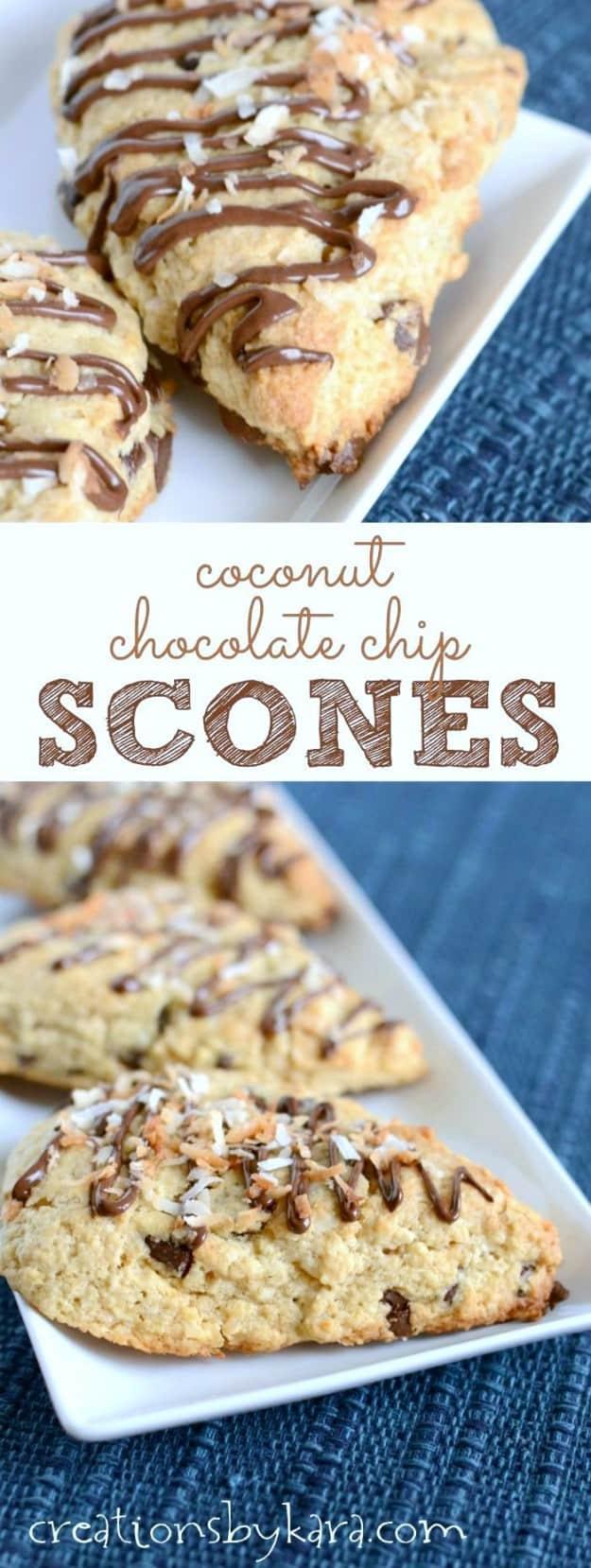 coconut chocolate chip scones recipe collage