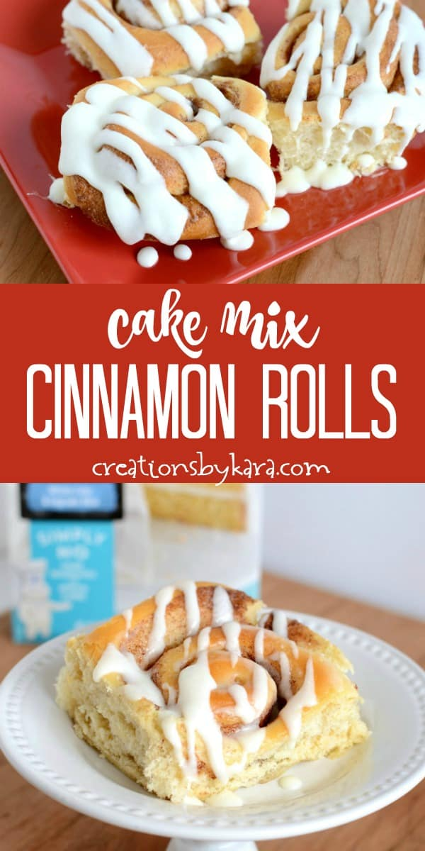 cake mix cinnamon rolls recipe collage