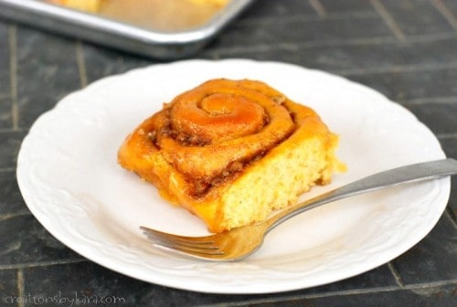 These Caramel Sweet Potato Cinnamon Rolls just scream fall!