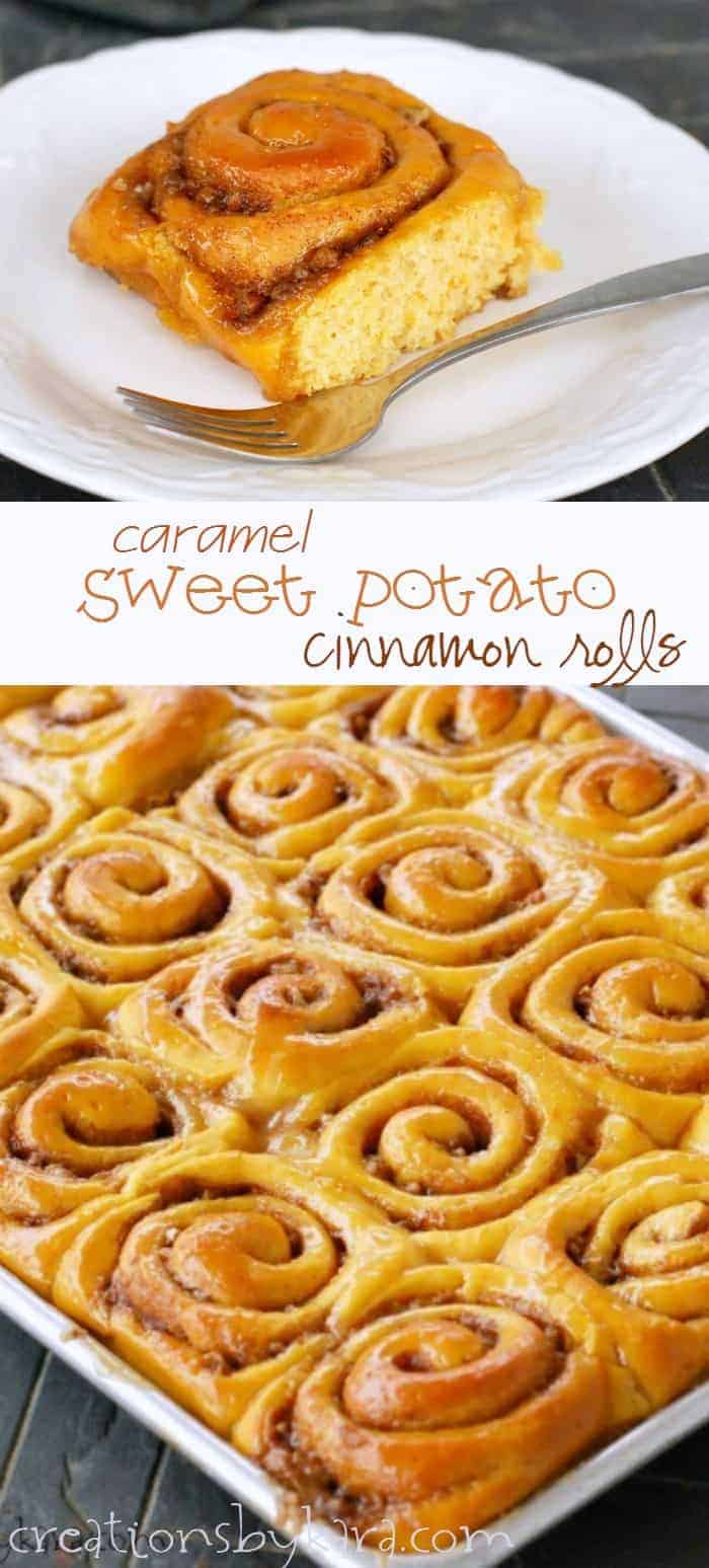 Caramel Sweet Potato Cinnamon Rolls