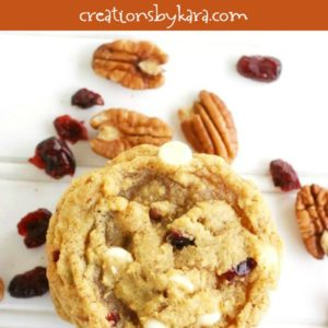 chewy pumpkin cookies with white chocolate and cranberries