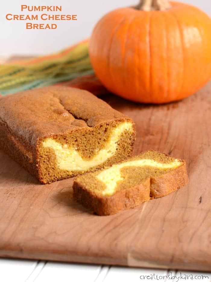This Pumpkin Cream Cheese Bread is a must try for fall baking. It is tender and delicious with the perfect amount of spice, and has a delicious cream cheese filling. #pumpkinbread #pumpkincreamcheesebread