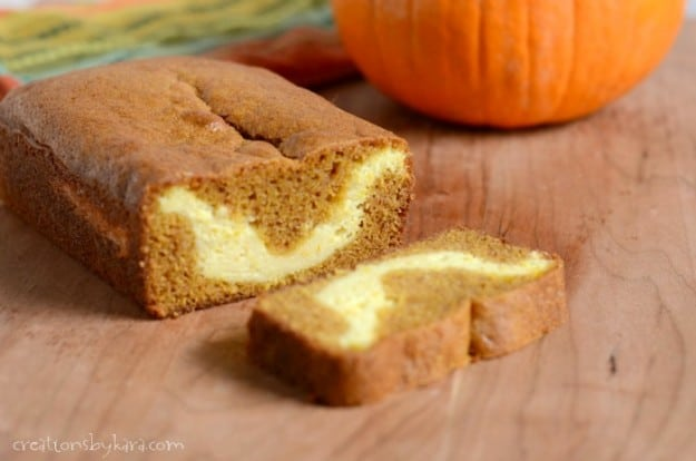 sliced loaf of cream cheese pumpkin bread